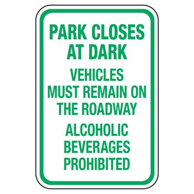 Park Closes At Dark - Playground Sign