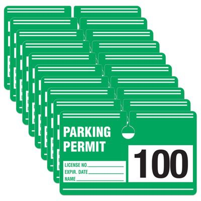 Parking Permit - Rectangular Cardstock Parking Permits