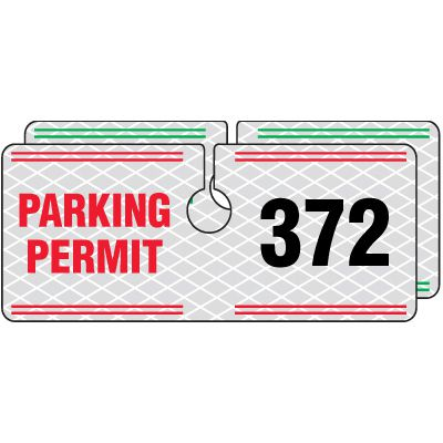 Reflective Hanging Parking Permits - 2 x 4-3/4
