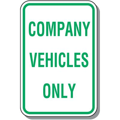 Company Vehicles Only Parking Sign