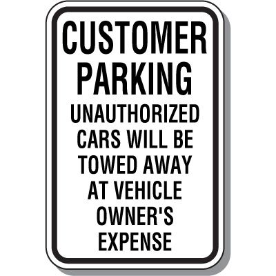 Customer Parking Sign