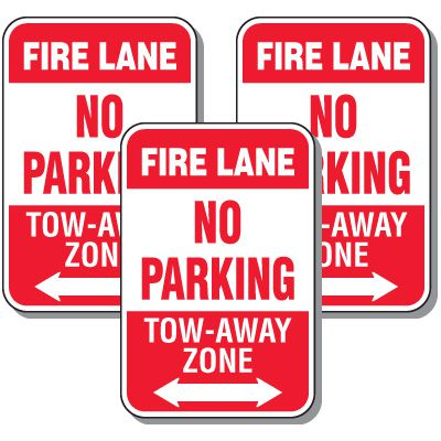 Fire Lane Signs - No Parking Tow-Away Zone With Arrow