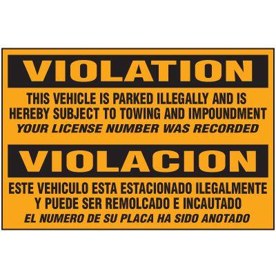 Bilingual Parking Violation Warning Labels