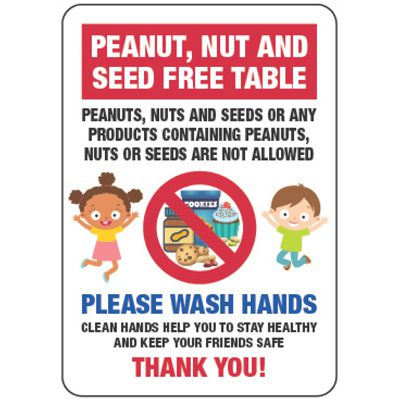 Peanut, Nut and Seed Free Table - Food Allergy Signs