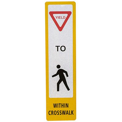 FlexBollard Pedestrian Crossing Decal - Yield to Pedestrians Within Crosswalk