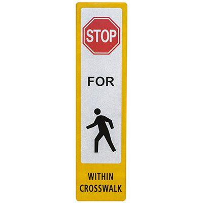FlexBollard Pedestrian Crossing Decal - Stop For Pedestrians Within Crosswalk