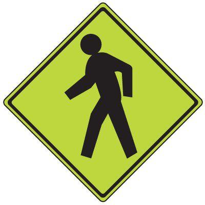Pedestrian Crossing Symbol Only - Fluorescent Pedestrian Signs