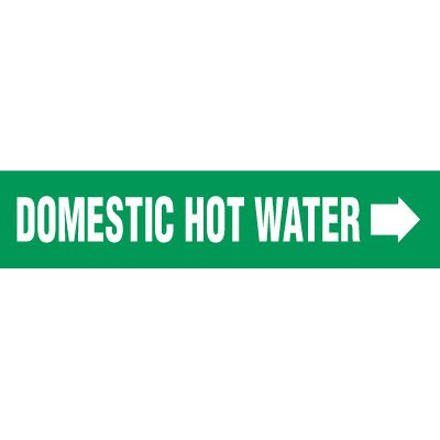 Domestic Hot Water With Arrow Pipe Markers