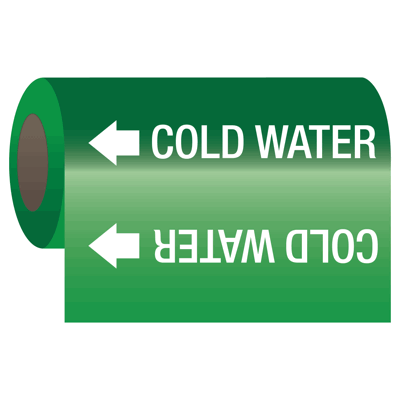 Cold Water - Self-Adhesive Pipe Markers-On-A-Roll