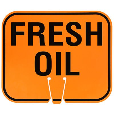 Plastic Traffic Cone Signs- Fresh Oil