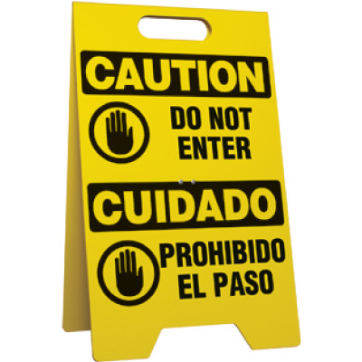 Bilingual Do Not Enter Portable Floor Stand