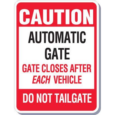 Caution Automatic Gate Sign
