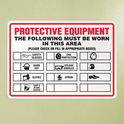 Protective Equipment List Sign