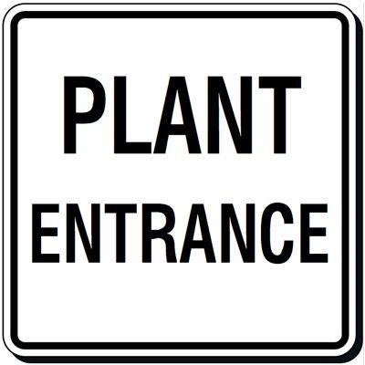 Reflective Parking Lot Signs - Plant Entrance