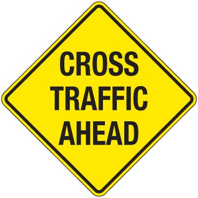 Reflective Warning Signs - Cross Traffic Ahead
