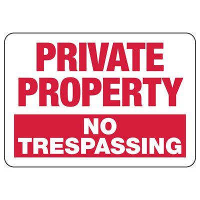 Private Property No Trespassing Horizontal Signs