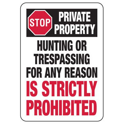 Stop Private Property Hunting or Trespassing Prohibited