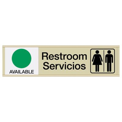 Restroom Available/In Use - Bilingual Engraved Restroom Sliders