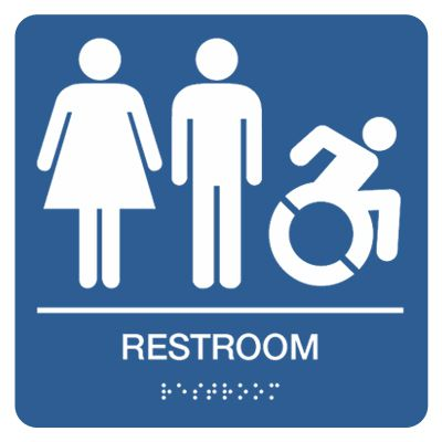 Restroom (Women, Men, Dynamic Accessibility) - Graphic Braille Signs