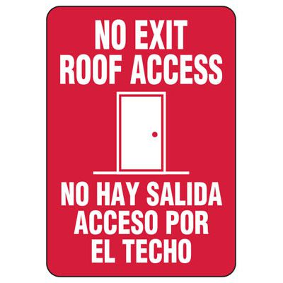 Bilingual Roof Access Signs - No Exit Roof Access