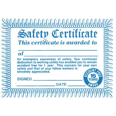 Replacement 15 Years Accident-Free Award Certificate