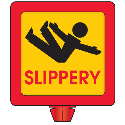 Slippery Safety Cone Sign