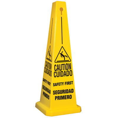 Bilingual Caution Safety First Cone