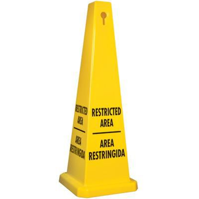 Bilingual Restricted Area Safety Cone