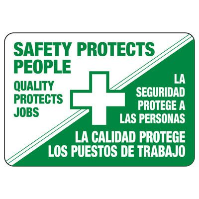 Bilingual Safety Protects Sign