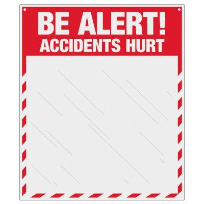 Safety Slogan Mirror Signs - Be Alert