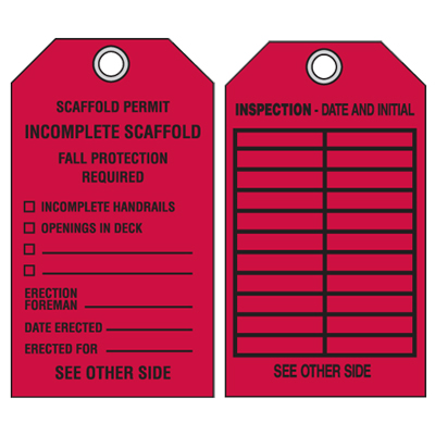 Scaffold Safety Tags - Scaffold Permit Incomplete Scaffold