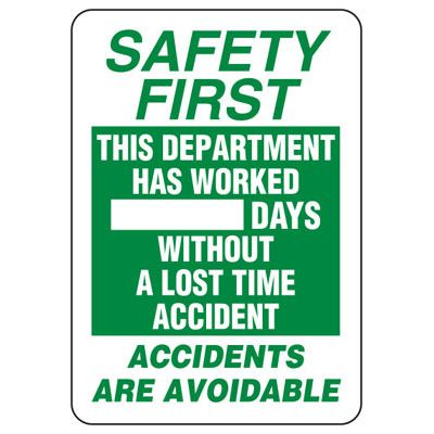 Safety First Scoreboard Signs