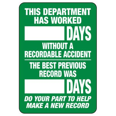 Department Accident Free Scoreboard Signs