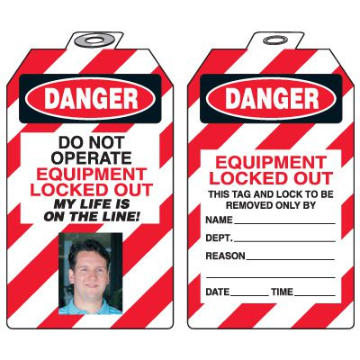Self-Laminating Photo Padlock Tags - Danger Do Not Operate Equipment Locked-Out