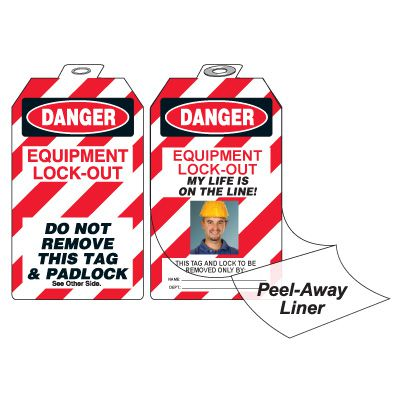 Self-Laminating Photo Padlock Tags - Danger Equipment Lock-Out