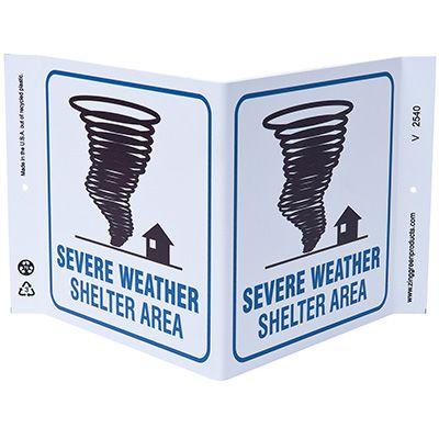 Severe Weather Shelter V-Style Sign