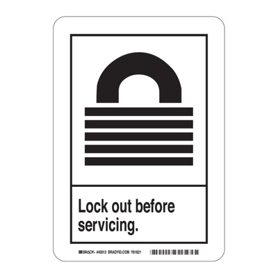 Brady 45150 ANSI Sign Z535 - Lockout before Servicing - Self Sticking Polyester