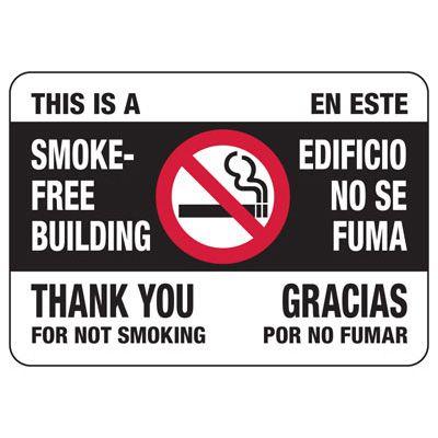 Bilingual Smoke-Free Building Sign