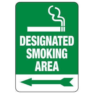 Designated Smoking Area Sign (Left Arrow)