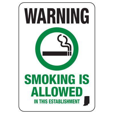 Indiana Smoke Free Sign - Warning Smoking Is Allowed