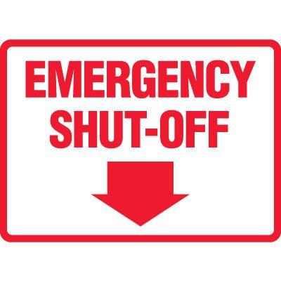 Emergency Shut-Off Sign (Downward Arrow)