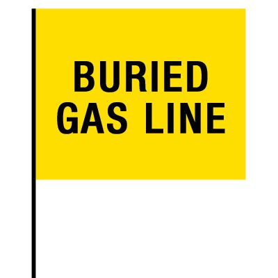 Standard Worded Marking Flags - Buried Gas Line