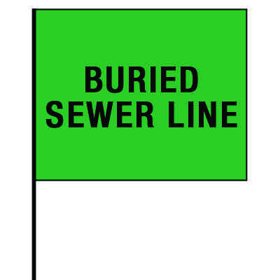 Standard Worded Marking Flags - Buried Sewer Line