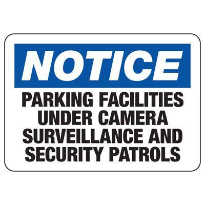 Parking Facilities Under Surveillance Sign