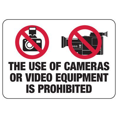 Video Equipment Is Prohibited Sign