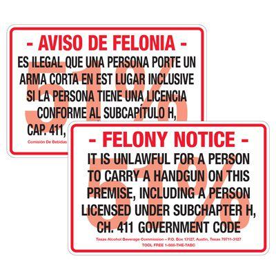 Texas Gun Signs - Felony Notice Unlawful Handgun
