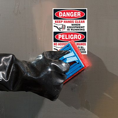 ToughWash® Labels - Danger Equipment Running (Bilingual)