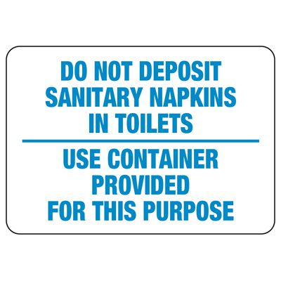 No Sanitary Napkins in Toilet Sign