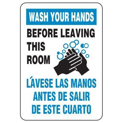 Bilingual Wash Hands Before Leaving Restroom Sign