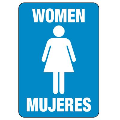 Bilingual Women's Restroom Sign